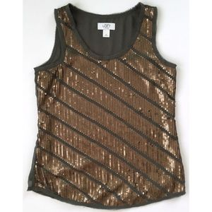 ANN TAYLOR LOFT Sleeveless Gray Brass Sequin Top